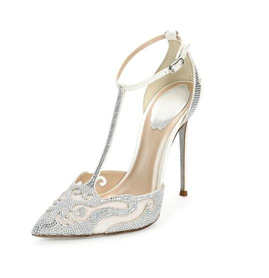 Rene Caovilla White embellished t-strap high heels