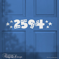 Patriotic Stars Custom House Number Door Decal