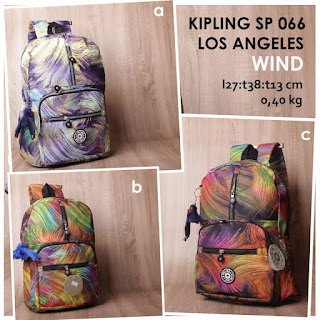 jual online tas ransel kipling kw motif super murah bahan parasut - los angeles sp 066