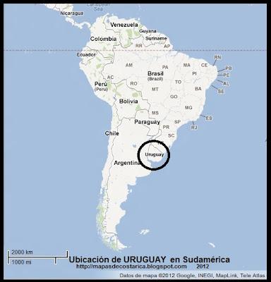 Ubicación de URUGUAY en Sudamérica, Google Maps