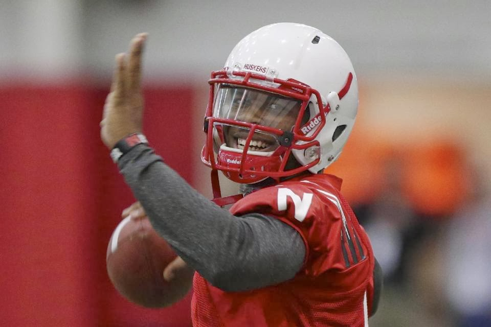 Nebraska wide receiver Jamal Turner takes snaps at quarterback at the start of spring practice.
