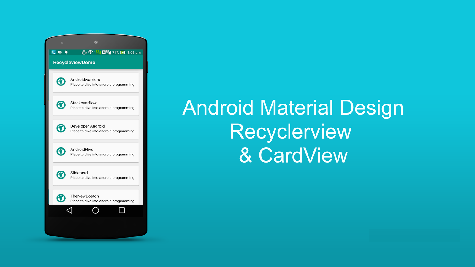 recyclerview tutorial android studio example