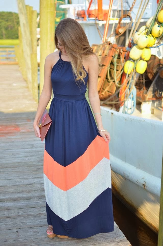 Dark blue maxi dress with orange and white lines