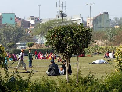 парк в Дели, на газоне сидят индусы