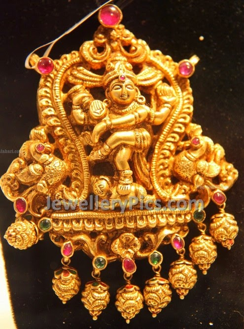 Nataraj temple locket with nakshi work