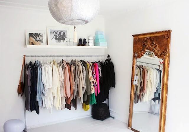 open closet, clothing rack