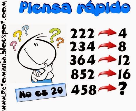 Piensa Rápido, Sólo para Genios, Acertijos, Acertijos matemáticos, Descubre el número, Piensa el número, Jugando con números, Retos Matemáticos, Desafíos Matemáticos, Problemas Matemáticos, Problemas de lógica, Problemas de Ingenio