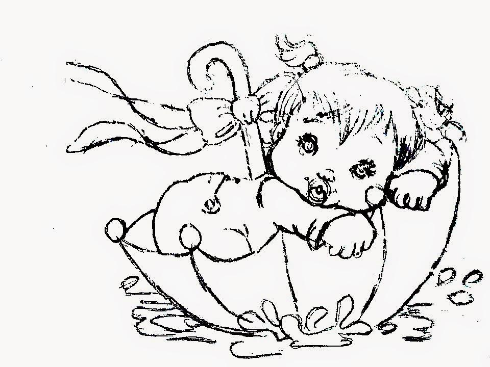 desenho de bebe menina dentro de um guarda chuva para pintar