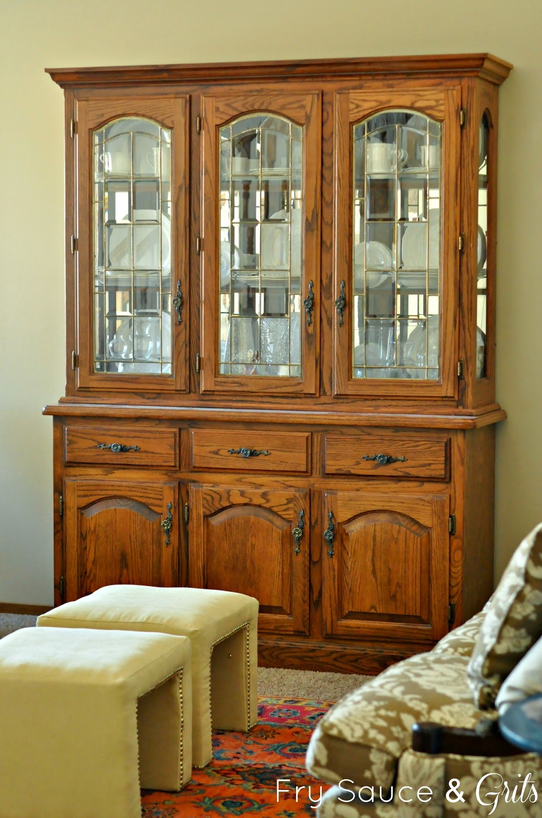 Oak China Cabinet Redo from Fry Sauce and Grits