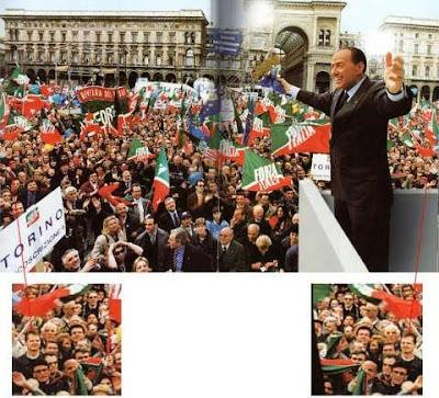 Foto de comício é mentirosa como político.