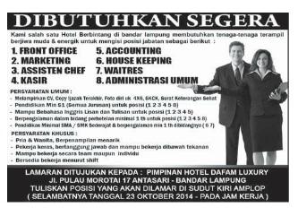 Lowongan Kerja Lampung Hotel Dafam Luxury, Senin 13 Oktober 2014