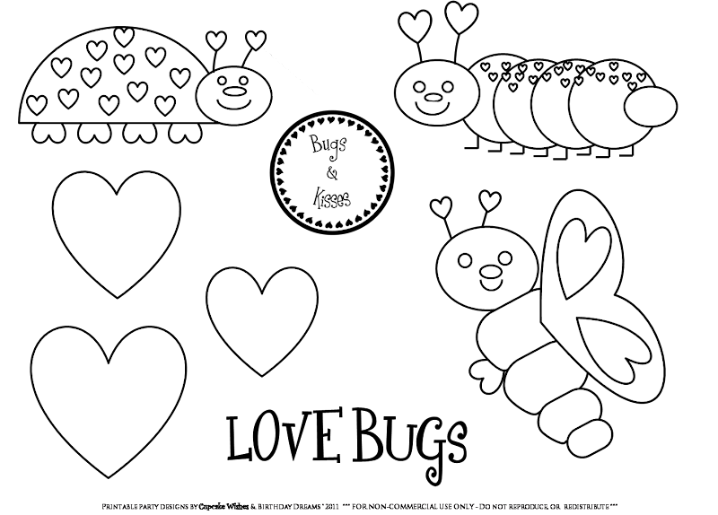 Friday Freebie: Love Bugs Printable Party Collection Coloring Page title=