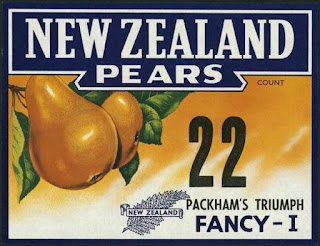 New Zealand Pears Vintage Fruit Label Poster