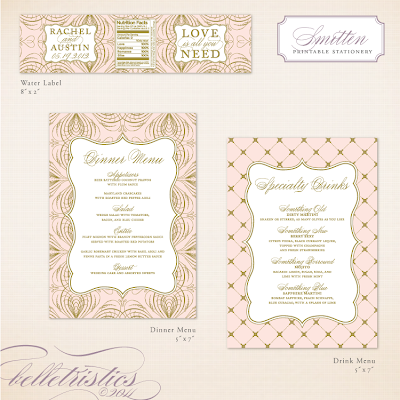 elegant glamorous pink gold printable diy wedding stationery design