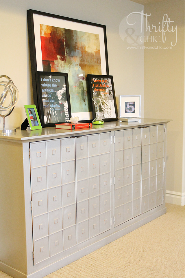 Grey faux apothecary cabinet