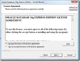 Instal oracle Express Edition 10g