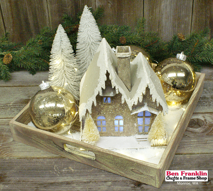 this display includes a lighted house 75 x 8 mercury ornaments artificial snow and 2 bottle brush trees arranged in a pre finished wood tray with - Mini Picture Frame Ornaments