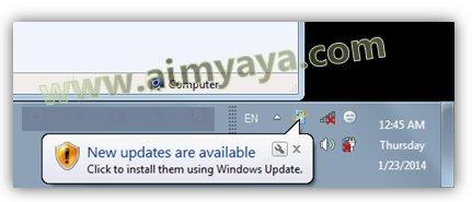 Gambar: Contoh notifikasi tersedia modul update