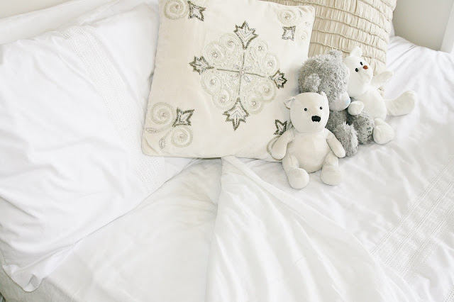 Katherine Penney Chic Bedroom Details Pastel Summer Pretty White Bedding Bed Pillows Cushions Teddies