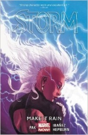 Cover of Storm Volume One, featuring a black woman with a dramatic crest of white hair. She has her back to the viewer, but her head is twisted so she appears in profile. Lightning flashes behind her.