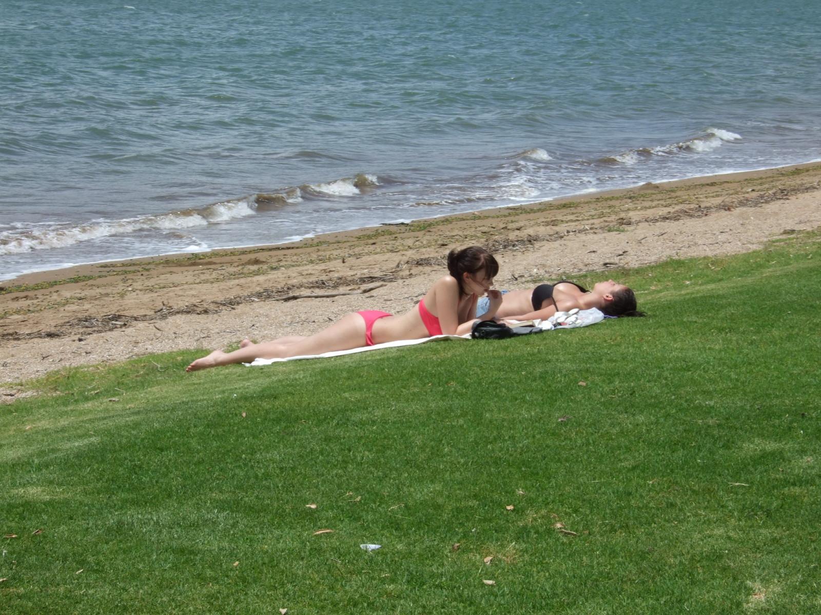 海水浴,砂浜,芝生,水着,パイヒア,ニュージーランド〈著作権フリー無料画像〉Free Stock Photos