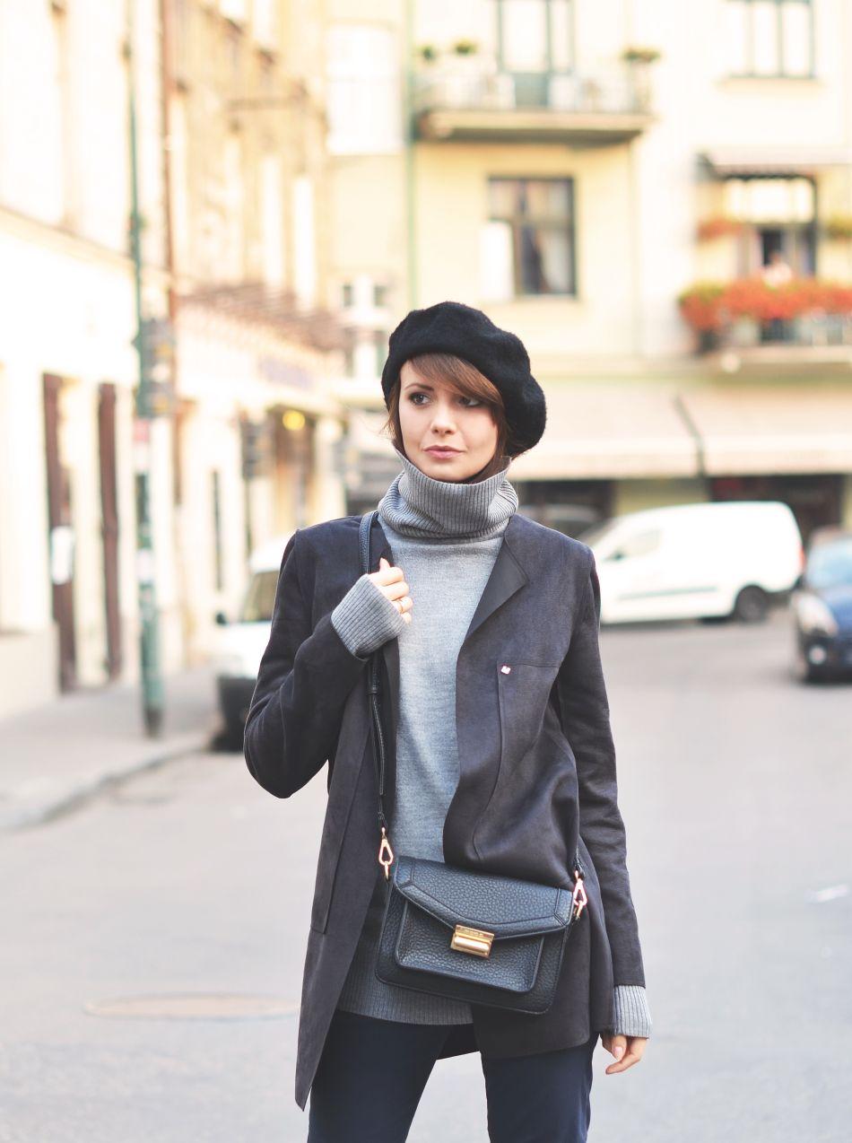 plaszczyk jesienny | beret | szary golf | blog o modzie | blogi o modzie | ubrania tova