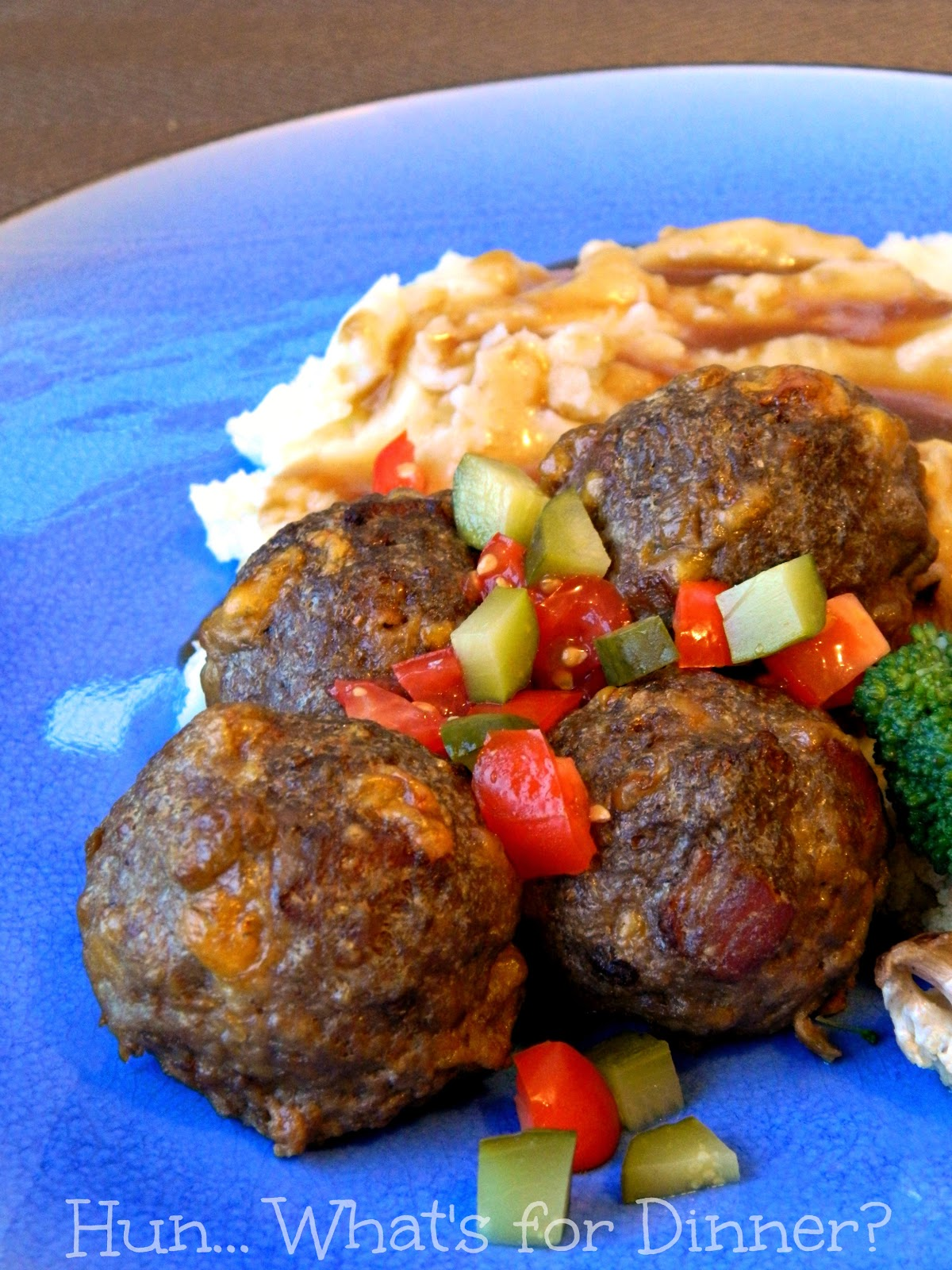 Secret Recipe Club- Bacon Cheeseburger Meatballs on Hun... What's for Dinner?