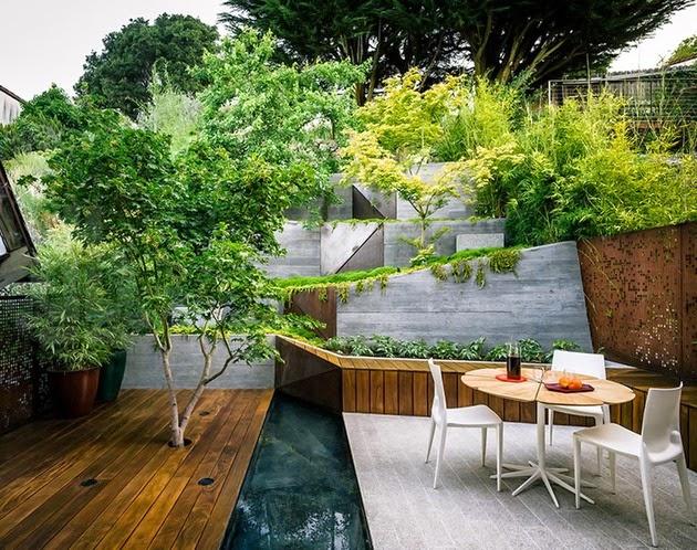 Berada di tempat San Francisco yang banyak terdapat lahan dan situs tanah yang miring Mendesain Taman Multi Layer Modern