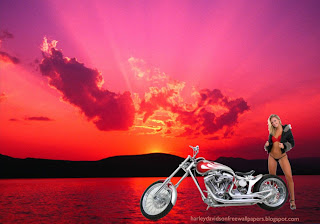 Desktop wallpapers Harley Davidson Bikes Beautiful Girl Standing in Sunset Landscape