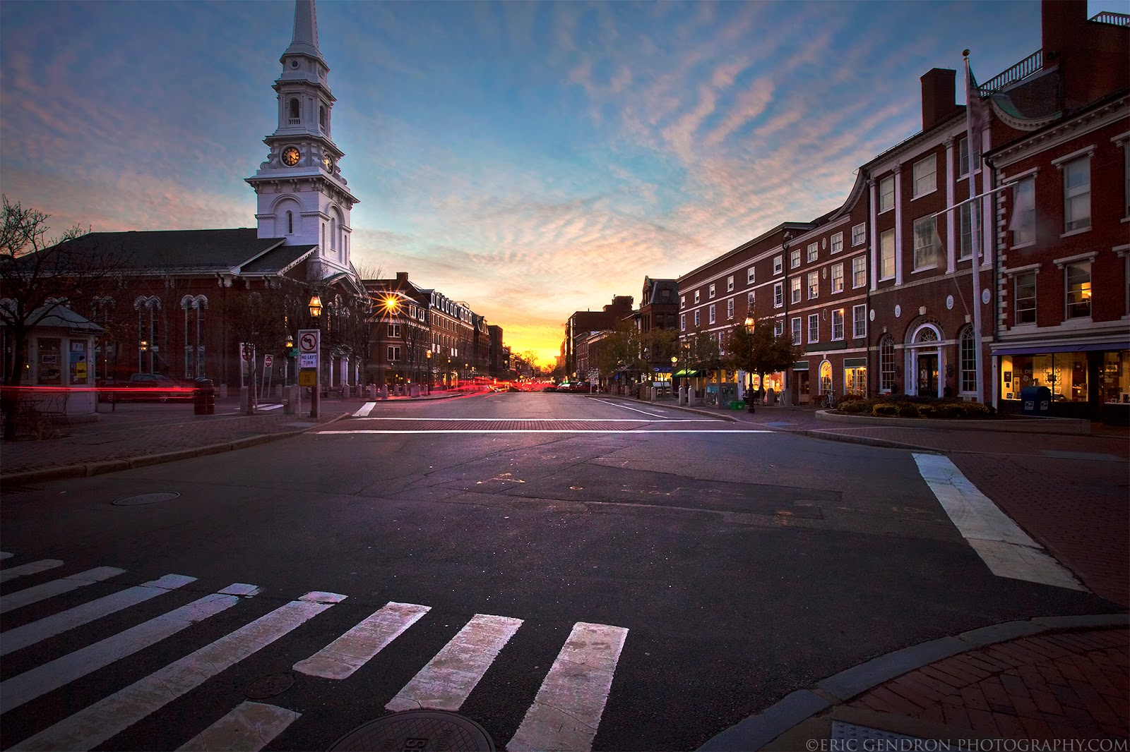 Beautiful sunset in market square downtown portsmouth