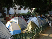 Protest tents on Tel Aviv's Rothschild Boulevard