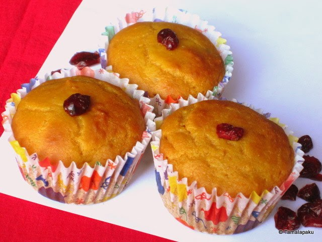 Fat Free Eggless Mango Cranberry Muffins