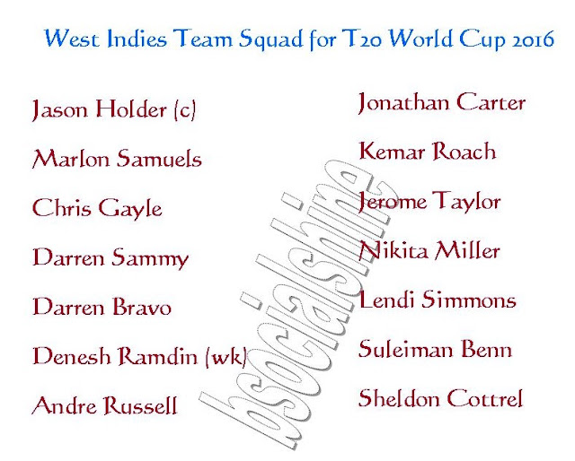 West Indies Team Squad for T20 World Cup 2016,2016 ICC World Twenty20,all teams squad for t20 world cup 2016,player list for t20 world cup,West Indies team player,West Indies 11,player list.,ICC T20 World Cup 2016 West Indies team squad,West Indies team for t20 world cup 2016,confirmed Sri Lanka team squad for t20 world cup 2016,West Indies team squad 2016,final 11 player,West Indies final 11 player for t20 world cup 2016,WI player list,team squad England Players List : Jason Holder (c), Marlon Samuels, Chris Gayle, Darren Sammy, Darren Bravo, Denesh Ramdin (wk), Andre Russell, Jonathan Carter, Kemar Roach, Jerome Taylor, Nikita Miller, Lendi Simmons, Suleiman Benn, Sheldon Cottrel,