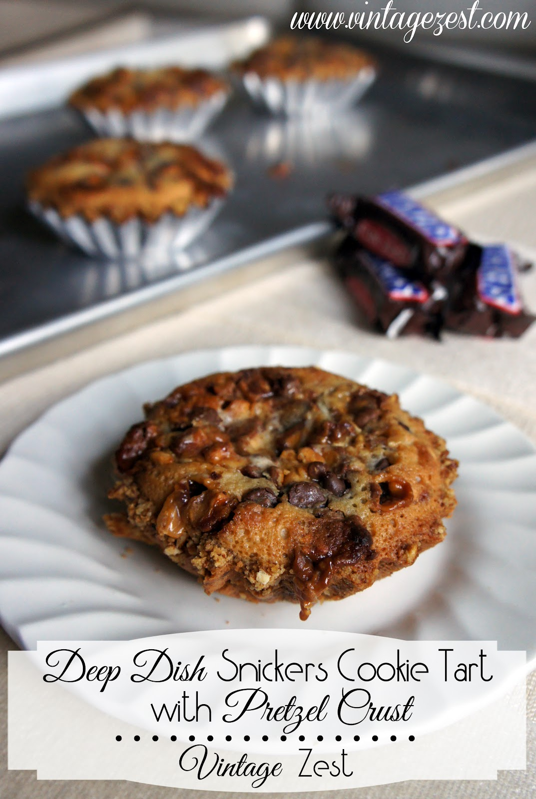 Deep Dish Snickers Cookie Tart on Diane's Vintage Zest!