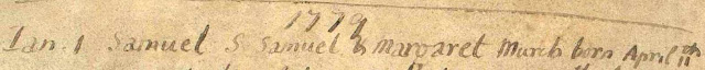 Samuel Murch birth/baptism entry 1778