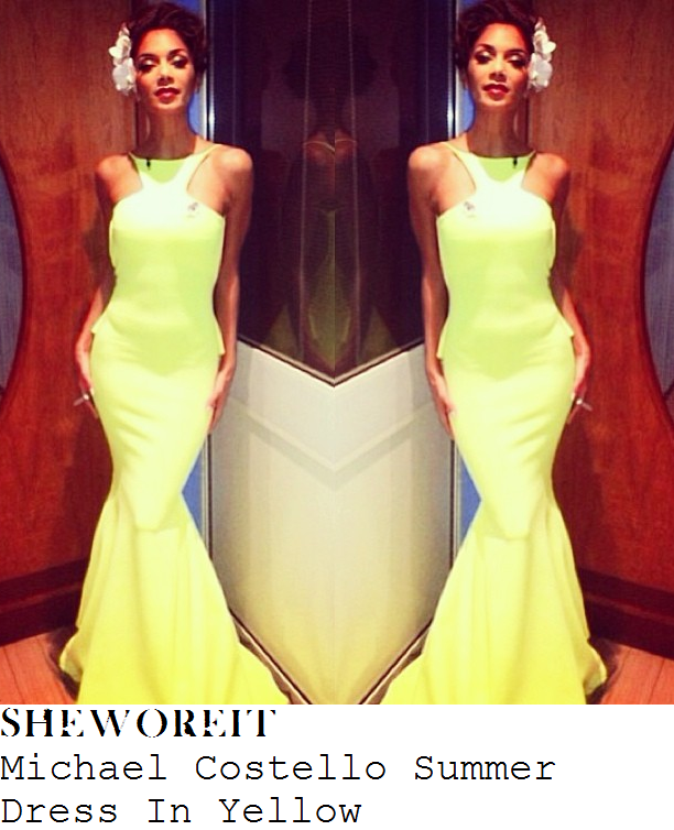 nicole-scherzinger-yellow-sleeveless-mermaid-hem-gown-x-factor-big-band-week