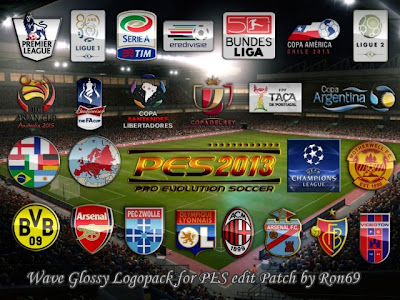 PES 2013 Wave Glossy Logopack for PESEdit Patch 2.3 by Ron69