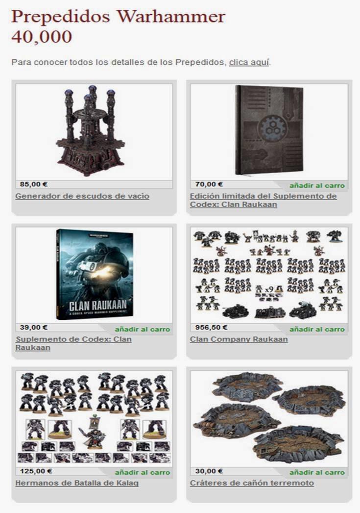 Prepedidos para Warhammer 40000 de la tercera semana de marzo