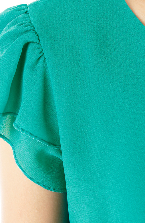 Seagreen Flutter Away Pleat Chiffon Blouse
