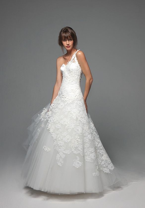 Tulle and Lace One-Shoulder Sweetheart A-Line Elegant Wedding Dresses