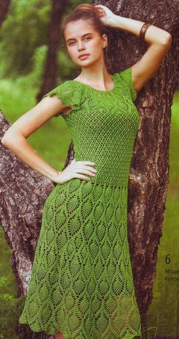 Vestido crochê ponto abacaxi