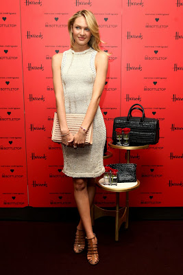 Candice Swanepoel wears nude knitted dress to launch new Narciso Rodriguez Bottletop handbags