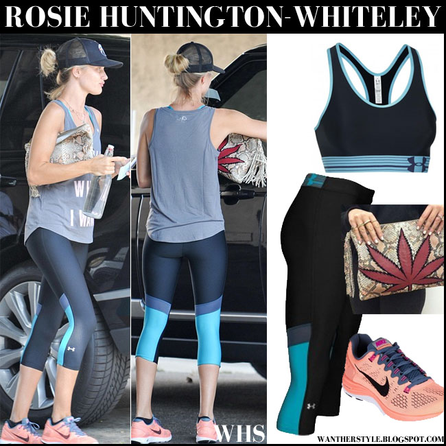 Rosie Huntington-Whiteley in grey top, cropped Under Armour leggings and neon Nike Lunarglide sneakers fitness fashion