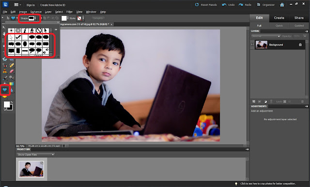 Speech bubbles are one of the interesting things to add in our photographs and at times, these are extremely useful. Unfortunately the process of adding Speech Bubbles in Adobe Photoshop Elements is not very obvious and people get confused in locating this option. This article talks about applying Speech Bubbles on your Photographs in Adobe Photoshop Elements. Let's check out ...1. Open a photograph in Adobe Photoshop Elements2. Select 'Custom Shape Tool' on left tool-bar, as highlighted in above image.3. Now go to options bar of Custom Shape Tool and scroll-down, till you start seeing various types of Speech Bubbles4. Select the one you like and draw Speech Bubble shape on your photogrph. Shape can re-sized and transformed in various forms. Experiment with this and hope you will like them.