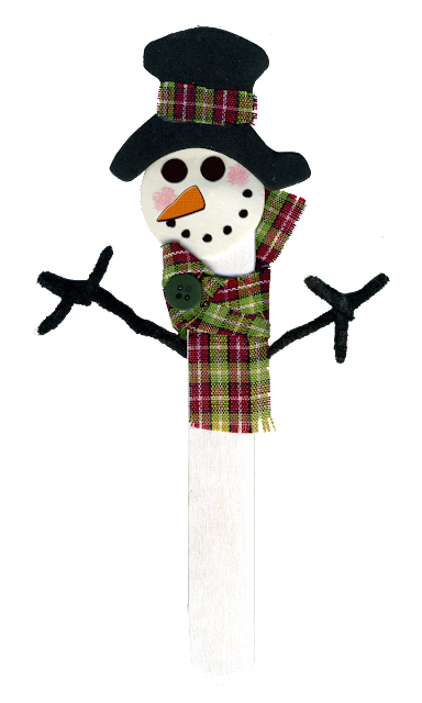Children's snowman popsicle stick project