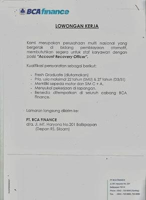 Sebuah perusahaan multi nasional di Balikpapan yang bergerak dibidang perbankan dan pembiayaan otomotif membutuhkan segera karyawan untuk posisi Account Recovery Officer.