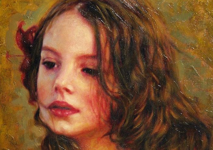 Children in art | Odysseas Oikonomou 1967 | Albanian-Born Greek Portrait painter