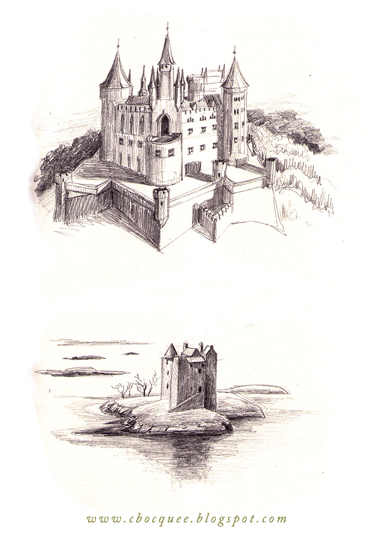 Pencil drawings of castles