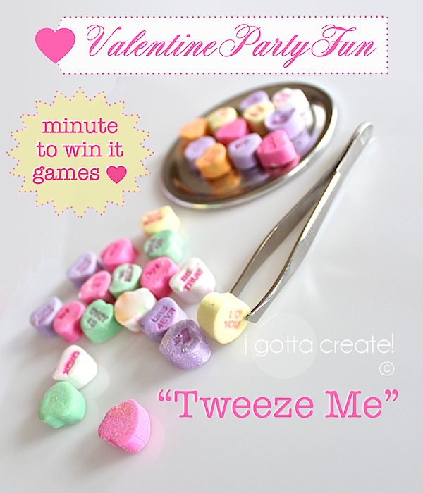 Use #Conversation Hearts to adapt this Minute to Win It game for #Valentine parties! | more games at http://igottacreate.blogspot.com