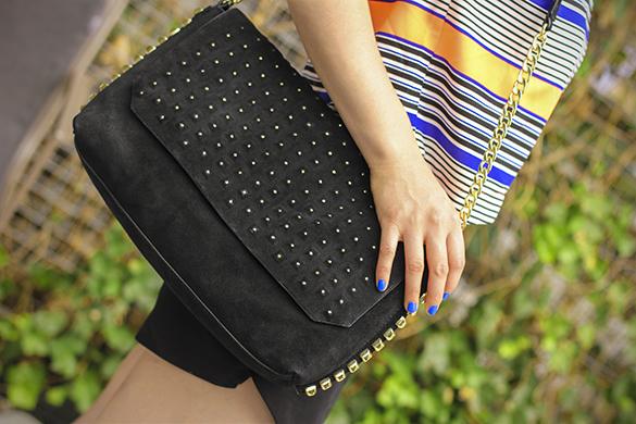 Zara suede studded handbag